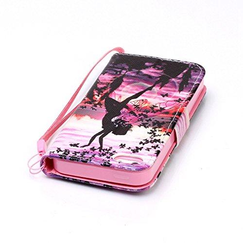 Voguecase® Pour Apple iPhone 5 5G 5S SE Coque, Étui en cuir synthétique chic avec fonction support pratique pour iPhone 5S (owl 22)de Gratuit stylet l'écran aléatoire universelle fille papillon 03