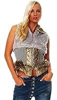 10298 Fashion4Young Damen Luxus Fell-Weste Winterweste Jacke Kunstfellweste 5 Farben 2 Größen