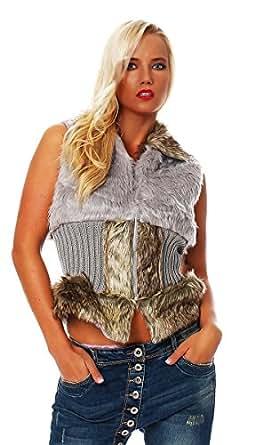 10298 Fashion4Young Damen Luxus Fell-Weste Winterweste Jacke Kunstfellweste 5 Farben 2 Größen (S/M=34/36, Grau)