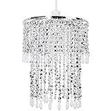 Eleganter, moderner und glizernder Lampenschirm für Pendelleuchte in chrom und aus Acryl. Mit kristallen Perlen und Juwulen Design