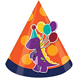 Little Dino Party Hats - Pack of 8