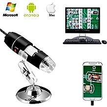 Jiusion 40 a 1000 x ingrandimento USB microscopio digitale endoscopio, 2 MP 8 LED USB 2.0, mini videocamera con adattatore OTG e metallo supporto, compatibile con Mac e Windows 7 8 10 Android Linux