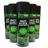 Autotek  Lot de 4 bombes de peinture, noir, mat, acrylique, 500ml, pour métal,...