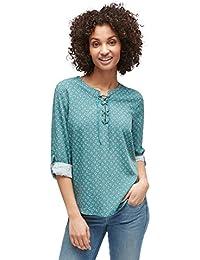 TOM TAILOR für Frauen Shirt/Blouse Gemusterte Bluse mit Schnürung