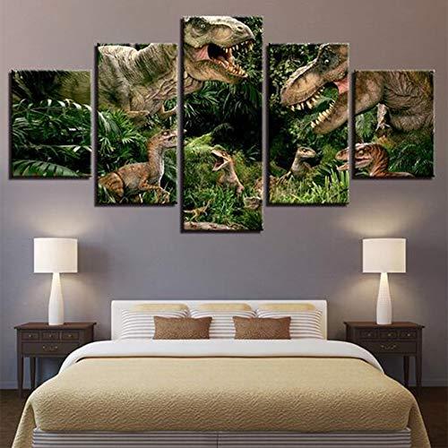 JFW-Leinwand Malerei Wohnkultur Wandkunst Rahmen 5 Stücke Jurassic Park Dinosaurier Bilder Für Wohnzimmer HD Druckt Tier Poster,A,30x40x2+30x60x2+30x80x1