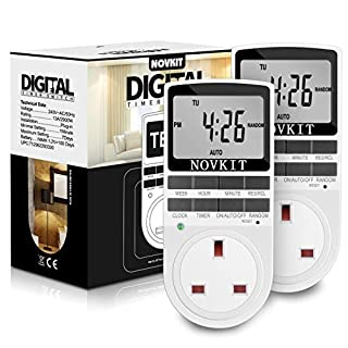 Digital Electrical Timer Plug Socket 24 Hours/7 Day Weekly Programmable Light Switch with Anti-Theft Random Mode