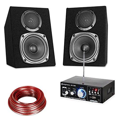 Unbekannt HiFi Stereo Sound Set HiFi-Verstärker 2 x 2-Wege-Lautsprecher mit je 30 Watt Leistung USB-und SD-Eingänge MP3 2 x 10 m Lautsprecherkabel 115-mm-Subwoofer und 70-mm-Hochtöner Schwarz