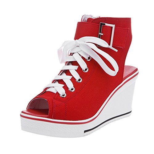 Ochenta De 4 Sport En Femme Rouge Compensé Mode Platform Chaussures UA6zwOqU