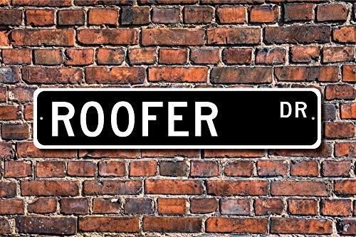 (Dozili Blechschild für Dachdach, Geschenk Dach, BAU, Dach, BAU, Dachverkleidung, Personalisiertes Straßenschild, 10,2 x 45,7 cm)