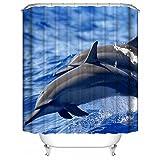 YAOFUTEE Seetiere-Delphine, die in klares Meer springen Wasserdichter Badezimmer Duschvorhang Polyester Gewebe Duschvorhang 36