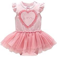 Bebé Niñas Tutú Pelele Vestido A rayas Body Verano Mameluco Infante Tuta Outfits Cumpleaños Princesa Trajes