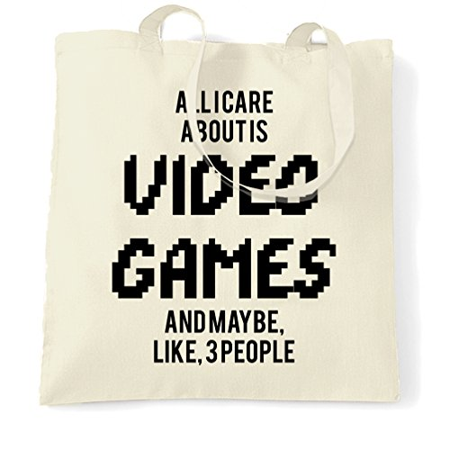 Gaming Sacchetto Di Tote Tutti mi interessa è giochi e come 3 persone cool divertente Natural