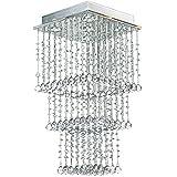 A1A9 Kristall Kronleuchter Moderne Regentropfen Kronleuchter Deckenleuchte Quadrat Pendelleuchte für Küche Esszimmer Wohnzimmer Schlafzimmer Angefordert 5 Lichter, L13.8 '' W13.8 '' H27.6 ''
