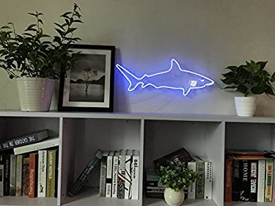 Shark Neon Art Sign Real Glass Handmade Visual Artwork Home Decor Wall Light