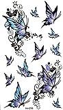 GRASHINE Wasserdicht und Schweiß Tattoo-Aufkleber blau elegant Schmetterling