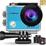 """Crosstour Action Cam 4K Wifi 16MP Camera Ultra HD 30M Unterwasserkamera 2"""" LCD mit 2 Wiederaufladbare 1050mAh Batterien (Blau)"""