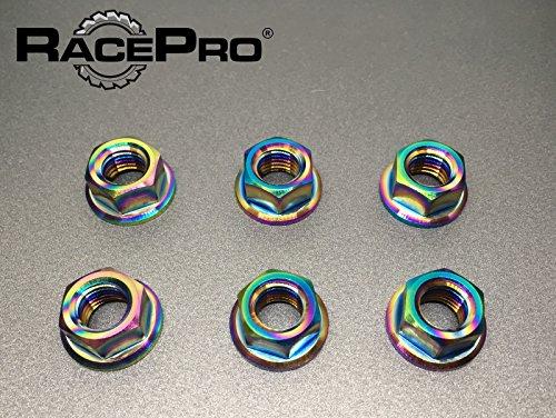 Preisvergleich Produktbild RacePro - 6x M12 x 1.25 Regenbogen Moto Guzzi Titan Flange Nüsses Feine Kettenrad.