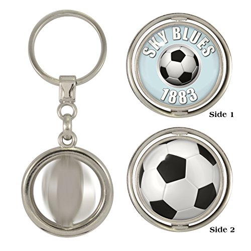 1StopShops Sky Blues 1883   Football 2-Sided Spinner Keyring