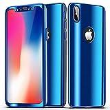 SainCat Coque iPhone XS Max, Coque iPhone XS Max 360 Degres Rigide, Ultra Slim Plastique Rigide Full Protection 360 Shockproof Miroir Coque pour iPhone XS Max-Bleu