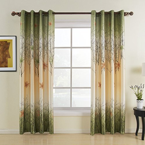 Leidener Tülle Top Druck-Land grün Maple Leaf gefüttert Vorhang Drapes Multi Größe erhältlich...