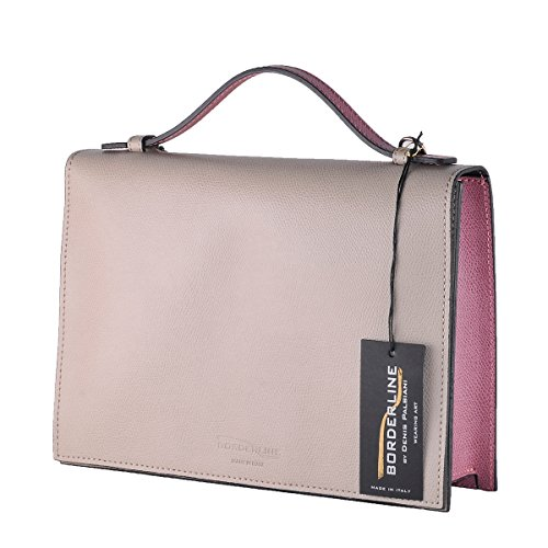 BORDERLINE - 100% Made in Italy - Borsa rigida da Donna in Vera Pelle - RITA Taupe/Prugna