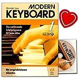 Moderne Clavier 1–École avec CD de Günter Loy–Le Programme scolaire complet pour tous les âges–avec ausgeschriebenen akkorden + Pince avec cœur Note