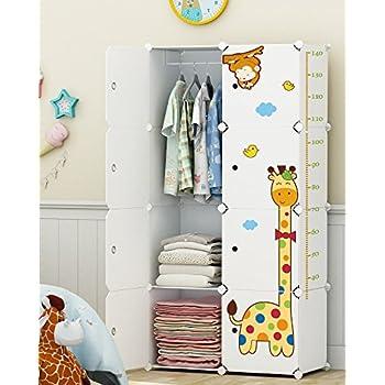 Koossy Erweiterbares Kinderregal Kinder Kleiderschrank mit Giraffe ...