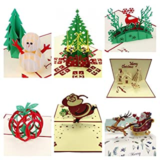 AlleTechPlus 3D Handmade Gift Greeting Christmas Cards 7 Pack Holiday Pop Up Cards with Envelopes