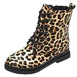 MYMYG Ankle Boots Damen Chelsea Stiefel Frauen quadratischer Absatz-Leopard-Druck-Schuhe Martain-Stiefel