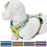 Blueberry Pet Soft & Comfy 3M Reflective Multi-colored Stripe Padded Dog Harness Vest, Chest Girth 56cm-68cm, Neck 45cm-66cm, Medium, Yellow, Azure &