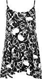 New Womens Plus Size Strappy Skull Rose Print Camisole Vest Ladies Top 12-30