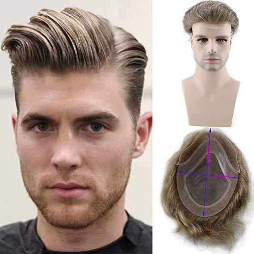 Rainbow Snow Toupee de cabello humano para hombre, parte superior fina con piel sintética alrededor y encaje frontal, 8 x 10 pulgadas, sistema de repuesto, ondulado natural
