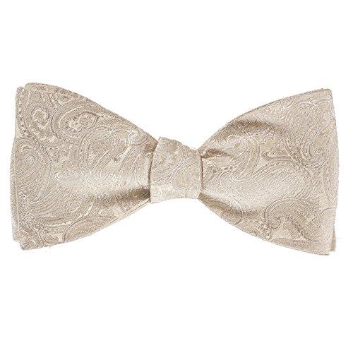 Selbstbinder Fliege - Herrenfliege zum Selbstbinden - Paisley-Muster, 100% Seide, Perfekt zur Hochzeit, 3 verschiedene Farben (Creme)