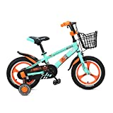 Männliche und Weibliche Kind Fahrrad Kinderwagen Räder 12 14 16 Zoll Kinder Fahrrad Ein Rad 2-8 Jahre Alt Grün Gelb Blau (Farbe : Grün, Größe : 14 inch)