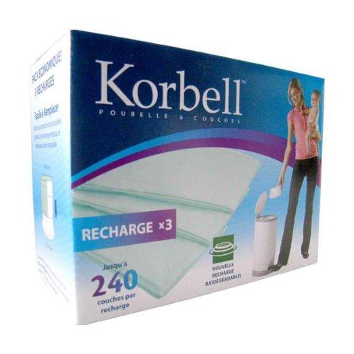 Korbell 3 Ricariche da 240 pannolini per Mangiapannolini Korbell da 15 litri