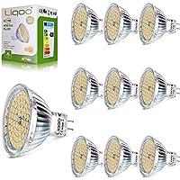 Liqoo 10er 5W MR16 GU5.3 12V LED Lampe kein Strobo Warmweiß 2800K 400Lumen ersetz für 35W Glühlampe 60 x 2835 SMDs 120º Abstrahlwinkel, AC DC 12V hohe CRI 80Ra Ø50 x 48mm Nicht Dimmbar