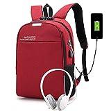 Laptop Rucksack Business Anti Diebstahl Wasserdicht Reiserucksack mit USB Laden -Port & Kopfhöreranschluss für Studenten für Frauen Männer Passen 13,3 Laptop Notebook Rot