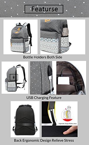 Best ladies backpack in India 2020 Vezela 4Pc Combo Of Laptop Bag With Usb Charging Feature With Lunch Bag, Pencil Case & Pouch (Gray) Image 3