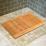 Liveinu Badvorleger Bambus Rutschfeste Bambusmatte Hygienisch mit 6 Anti Rutsch Punkten Schnelltrocknender Duschvorleger Fußmatte Innen Badezimmer Sauna Wellnessbereich Badteppich 50x80cm