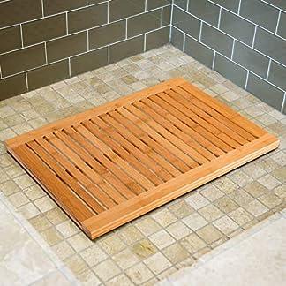 Liveinu Tarimas de Ducha y baño on Antideslizante Alfombrilla De Baño Bambú Resiste Manchas, Olores y Bacterias para Uso En Interiores y Exteriores 40x60cm