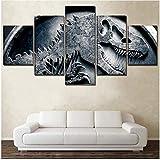 JRDWLH ImpressionssurToile 5 Pièces Mur Art Peinture Film Jurassic World Park Voiture Photo Home Decor Affiche Décoration Murale,Pas De Cadre 100x200CM