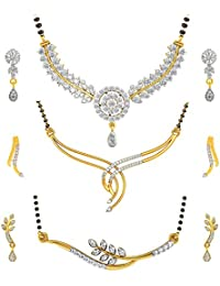 Jewels Galaxy Gold Plated Jewellery Set For Women (White)(CB-MS-6024)