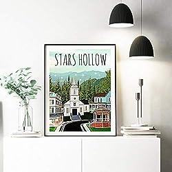 GUDOJK wandmalereien Poster Drucke Stars Hollow Poster Inspiriert von Gilmore Mädchen Leinwand Malerei Wandkunst Bild für Wohnzimmer Wohnkultur-60x80cm