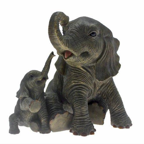 Lesser & Pavey - Figura Decorativa (15cm), diseño de Elefantes Jugando, Color Negro