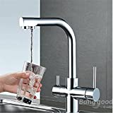 mark8shop flexibel chrom Messing Küche Spüle Badezimmer reinigen Wash Cold & Hot Waschbecken Twin Hebel Wasserhahn Einhebelmischer