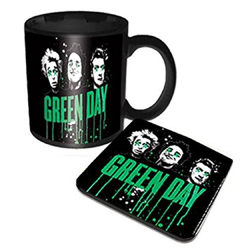 Green Day Kaffeetasse and Untersetzer Drips band logo Nue offiziell Gift set