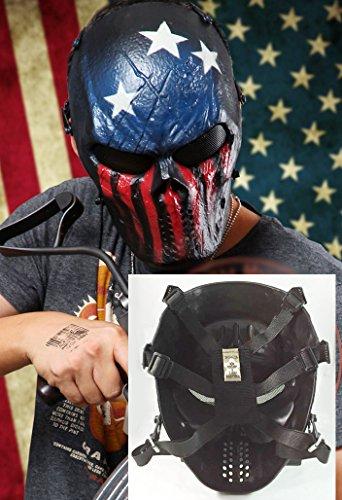 Metall-Netz-Augen Maske Schutz für BB Airsoft Maske Hockey Cosplay M06, Motiv Flagge der USA)