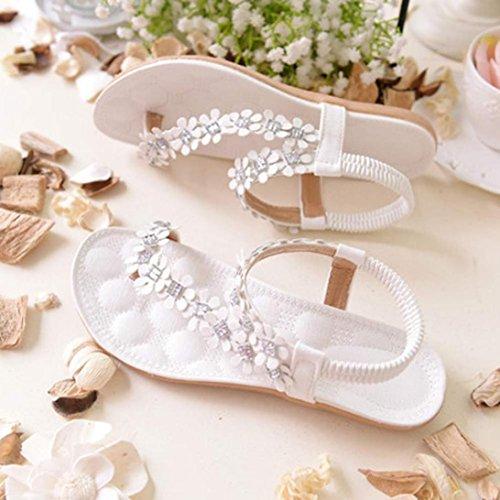 Goodsatar Frauen Sommer Böhmen Blumen Perlen Flip-Flop Schuhe flache Sandalen( Bitte eine größere Größe zu wählen!) Weiß