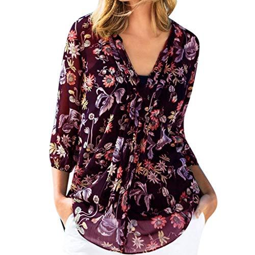 en Blumen Gedruckte Chiffonbluse mit V-Ausschnitt Lässige Tshirts Hippie Boho Tunika Freizeit Urlaub Langarmshirts Damen Sommer Herbst Floral Fransen Casual Bluse (Rot, 38) ()