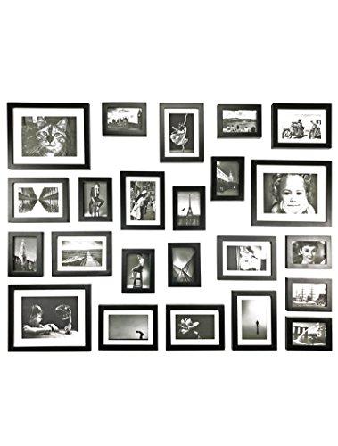 Bilderrahmen Set aus Echtholz mit Glasscheibe - 23er Set Fotorahmen Kollage -115x85cm/195x89cm/176x130cm- Schwarz - enthält Passepartout - Rahmenbreite 2cm!